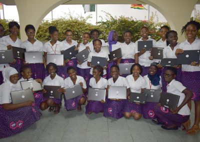 Girls at the ASA with laptops donated by Lanre Johnson Charity